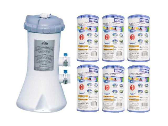 Intex 530 GPH Swimming Pool Filter Pump and 6 Type A Replacement Cartridges  - Newegg com