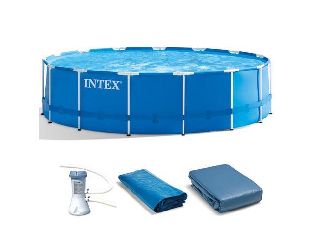 Intex 15ft x 42in Metal Frame Above Ground Swimming Pool Set w/ 1000 GPH  Pump - Newegg.com