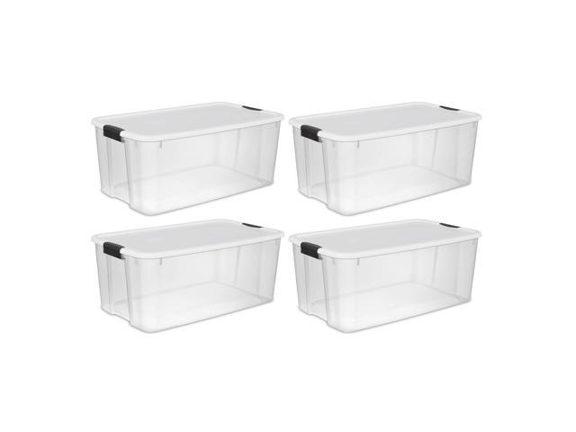 Sterilite 116 Quart Ultra Latching Clear Plastic Storage Tote Container, 4 Pack