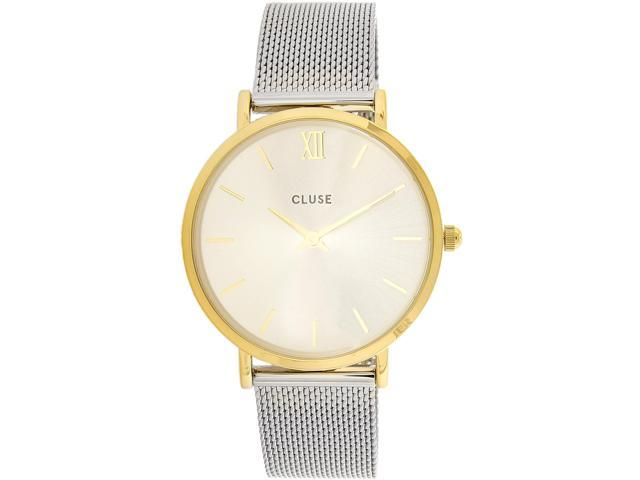 Cluse Women s Minuit Mesh CL30024 Gold Silver Stainless-Steel Quartz  Fashion Watch 84f636f05cf