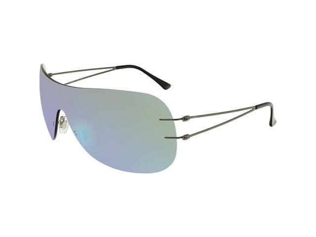 8e813e9a516 Ray-Ban Men s Mirrored RB8057-004 55-34 Grey Rimless Sunglasses ...