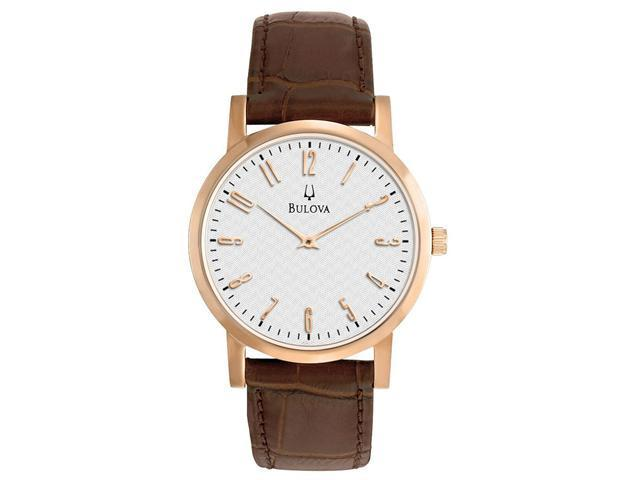 18bc16ca4 Bulova White Dial Rose Gold-tone Brown Leather Mens Watch 97A106