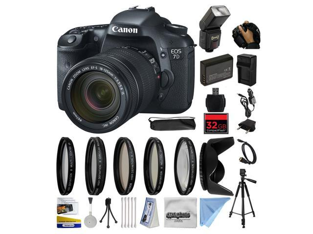 Canon EOS 7D 18 MP CMOS Digital SLR Camera with 18-135mm f/3 5-5 6 IS UD  Lens with 32GB Memory, Flash, Battery, Charger, Lens Hood, 5 PC Filters,  Grip