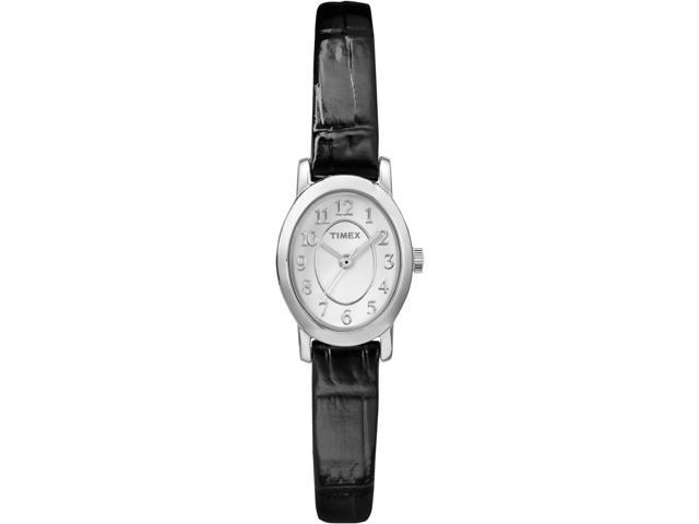 Timex Womens Cavatina Black Leather Strap Silver Tone Case Dress Watch Tw2p60400 Newegg Com