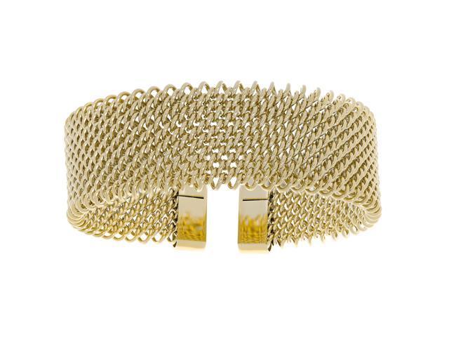 Lavari - Stainless Steel Mesh Cuff Bangle Bracelet with Gold Plating -  Newegg com