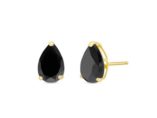 Lavari 7x5mm Pear Shaped Natural Black Onyx 14k Yellow Gold Stud Earrings Newegg