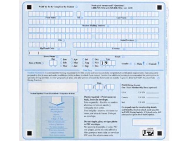 Padi Pic Certification Form For Padi Scuba Diving Certification