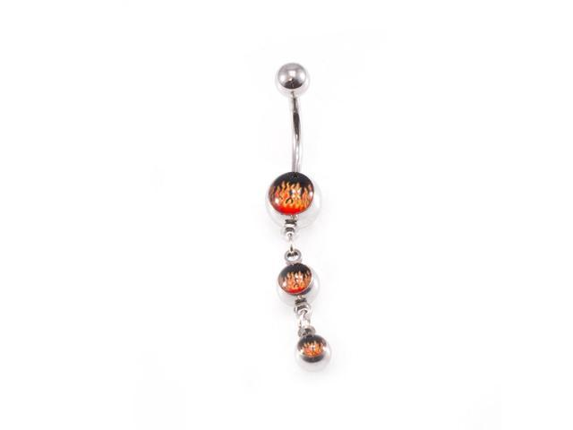 Belly Button Ring Fire Design 14g Navel Ring Surgical Steel Newegg Com