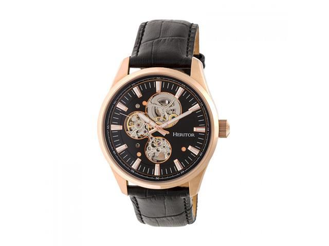 f1f186d67 Heritor Automatic Stanley Semi-Skeleton Leather-Band Watch - Rose Gold/Black