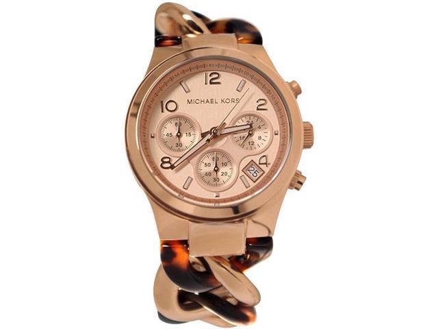 92363fb18292 Michael Kors Runway Rose Gold-tone Tortoise Twist Chain Link Ladies Watch  MK4269