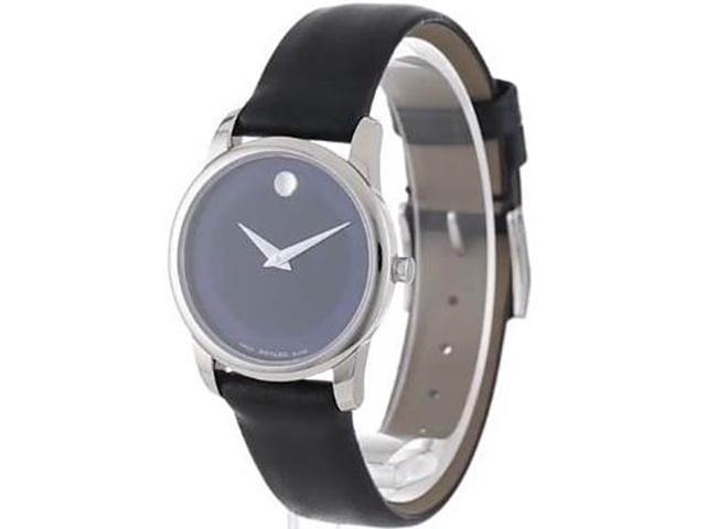 Used Very Good Movado Museum Blue Dial Steel Case Black Leather Strap Ladies Watch 0606611 Newegg Com