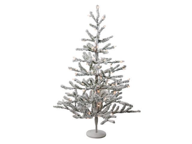 "36"" Pre-Lit Flocked Alpine Coral Artificial Christmas Tree"