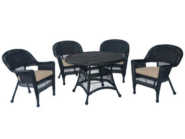 5-Piece Black Resin Wicker Chair & Table Patio Dining