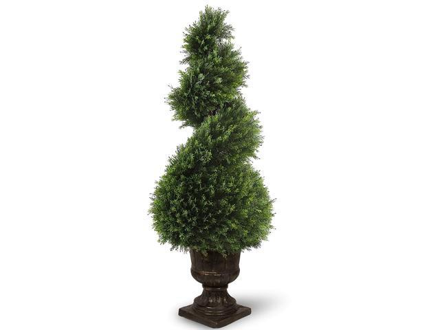 "4' X 15"" Potted Upright Juniper Spiral Artificial"
