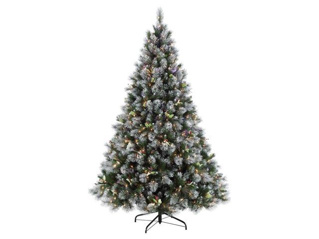 7.5' Pre-Lit Full Fiber Optic Frosted With Holly Berry