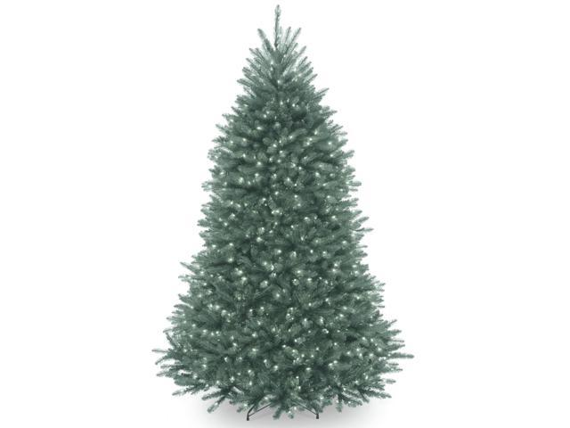 7' Pre-Lit Dunhill Blue Fir Hinged Artificial Christmas