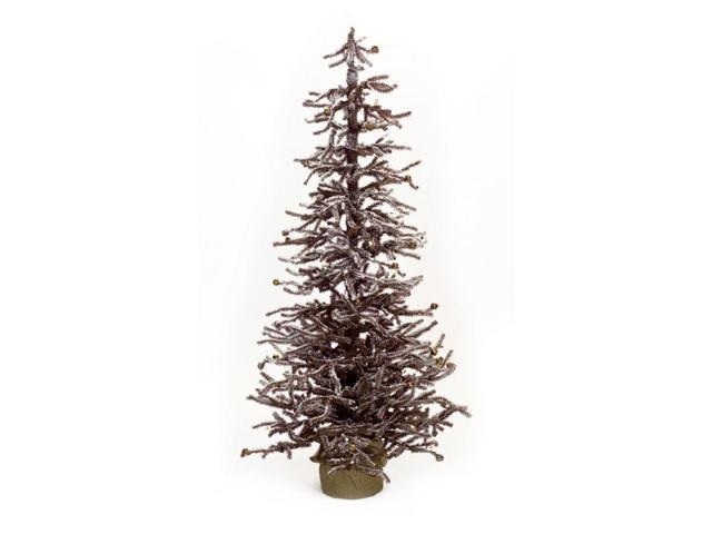 "48"" LED Lighted Brown Snowy Mini Christmas Twig Trees With"