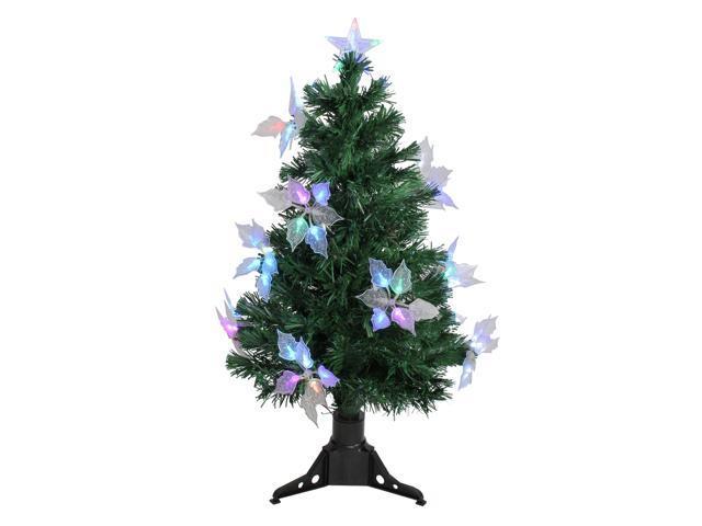 3' Pre-Lit Medium Fiber Optic Floral Artificial Christmas