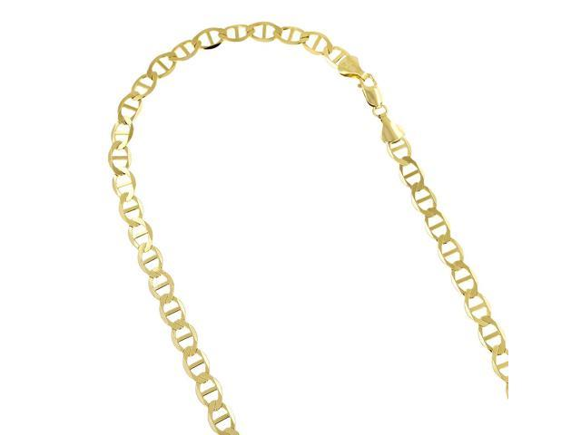 08203e573a17b Luxurman 14K Yellow Gold Solid Flat Mariner Chain 5.5mm Wide Link Bracelet  with Lobster Claw Clasp 8 inches long - Newegg.com