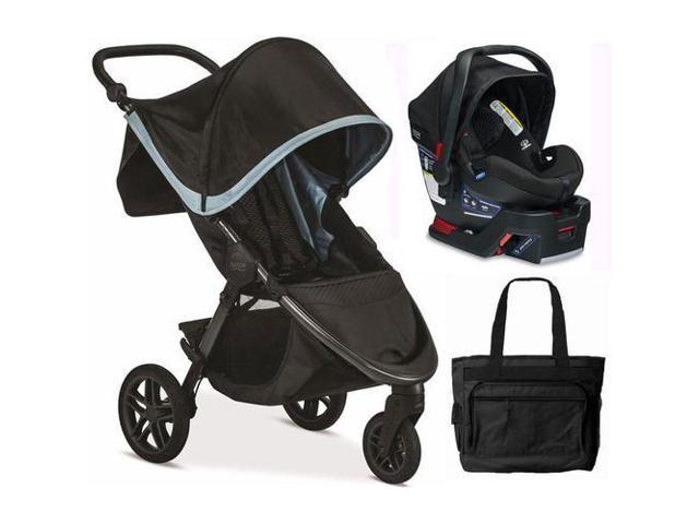Britax B Free Safe 35 Infant Baby Stroller Travel System Frost Midnight