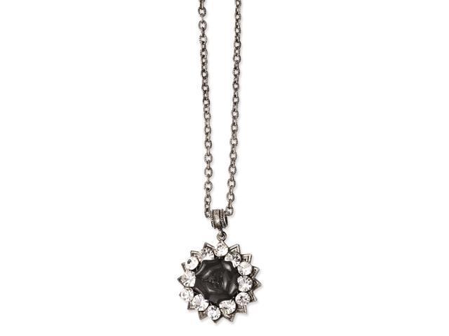 silver-tone crystal  u0026 black enamnel flower 16in w  3in ext necklace