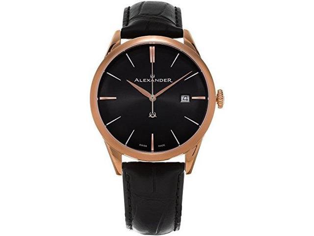 3211b0e9fbf Alexander Heroic Sophisticate Wrist Watch For Men - Black Leather Analog  Swiss Watch - Stainless Steel Plated Rose Gold Watch - Black Dial Date Mens  ...