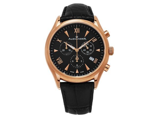 b6411f50508 Alexander Heroic Pella Wrist Watch For Men - Black Leather Analog Swiss  Watch - Stainless Steel Plated Rose Gold Watch - Black Dial Mens  Chronograph Watch ...