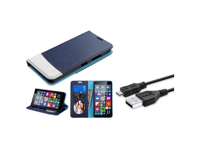 Insten Flip Leather Case w/stand For Microsoft Lumia 640(Metro PCS)/Lumia  640(T-mobile) - Blue/White (+USB Cable) - Newegg com