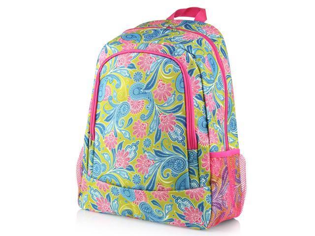 38ec96d24490 Zodaca Large Travel Camping Hiking Outdoor Sport Backpack Shoulder Bag  Bookbag - Green/Pink Paisley - Newegg.com