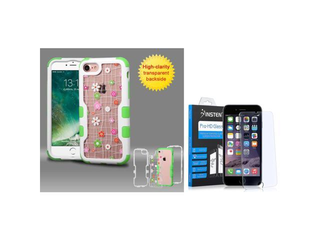 competitive price 61d0c 253f3 Insten for iPhone 8 / iPhone 7 - Glass Protector + Ivory White  Frame+Transparent Tiny Blossoms Flower PC Back/Green TUFF Hybrid Floral  Case - ...