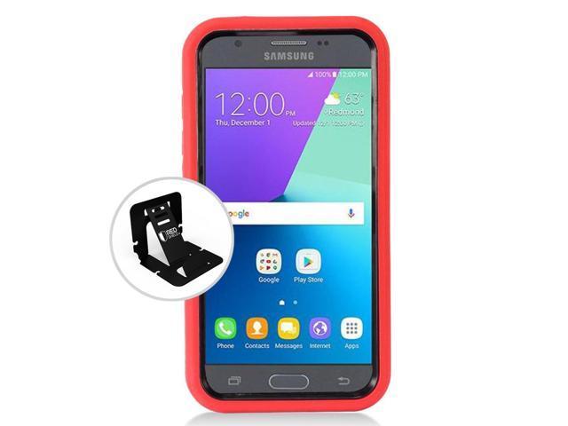 buy online 70607 780ef Samsung Galaxy J3 Emerge Case, Supreme Protection Silicone Case on Hard  Case Dual Layer Hybrid Case w/ Kickstand [Red/ Black] - Newegg.com