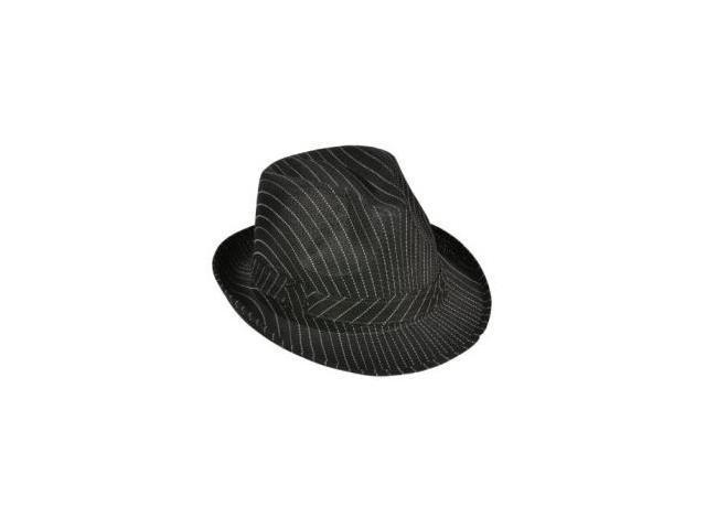 Roaring 20s Gangster Costume Black Pin Stripe Fedora Hat - Newegg ... ff1d52099a1