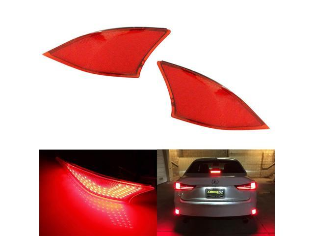 iJDMTOY (2) OEM Red Lens 69-SMD Red LED Bumper Reflectors For 2014-up Lexus  IS250 IS350 IS-F As Tail/Brake Lights and Turn Signal Lights - Newegg com
