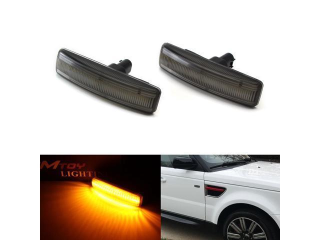 iJDMTOY (2) Smoked Lens Front Side Marker Lamps w/ 30-SMD Amber LED Lights  For 2006-2013 Range Rover Sport, 2008-2009 LR2 Freelander, 2005-2015 LR3