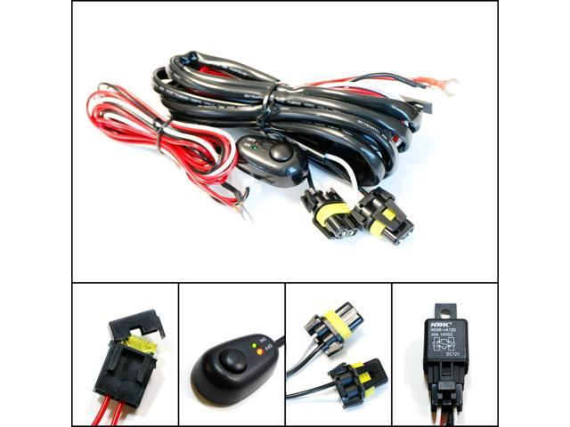 iJDMTOY (1) 9005 9006 H10 Relay Harness Wire Kit with LED Light ON/OFF  Switch For Aftermarket Fog Lights, Driving Lights, HID Conversion Kit, LED  Work