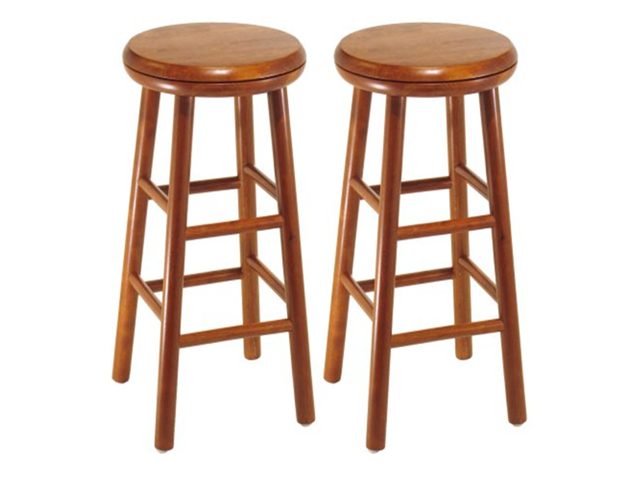 Winsome Wood Assembled 24 Inch Cherry Finish Swivel Stools Set Of 2