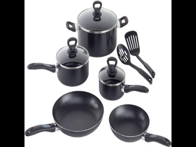 WearEver A801SA Comfort Grip Nonstick Oven Safe Dishwasher Safe PFOA Free  Set Cookware, 10-Piece, Black - Newegg com