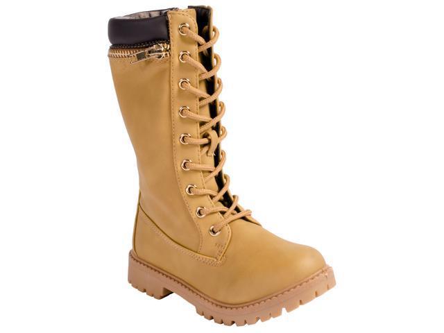 2e9da13f40c Anna Dallas 17K Girls Lug Sole Lace Up Zip Ankle High Hiking Boots with Top  Zipper - Camel, 13 - Newegg.com