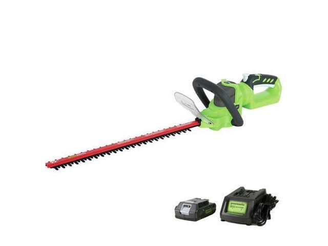 Greenworks 2200902 HT24B211 24V Opp Hedge Trimmer with 2.0 Ah Battery and Charger