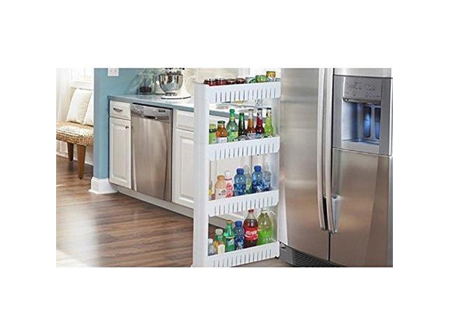 Slim Storage Food Cleaning Supplies Pantry Cabinet Organizer Slide Out Cart Rack With Wheels For Narrow