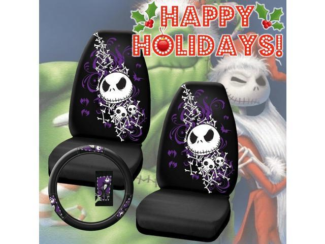 premium two officially licensed universal fit highback seat covers w steering wheel cover nightmare - Nightmare Before Christmas Steering Wheel Cover