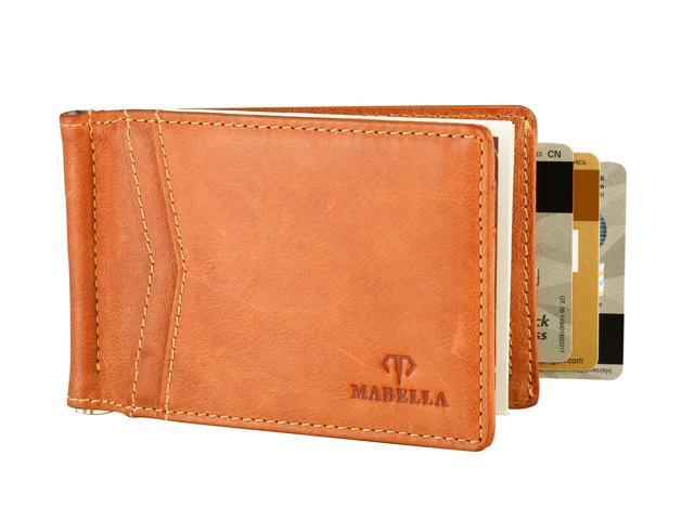 0d775b46b166 Mabella Men's RFID Blocking Genuine Leather Slim Thin Money Clip Front  Pocket Wallet, Gift for Men - Brown - Newegg.com