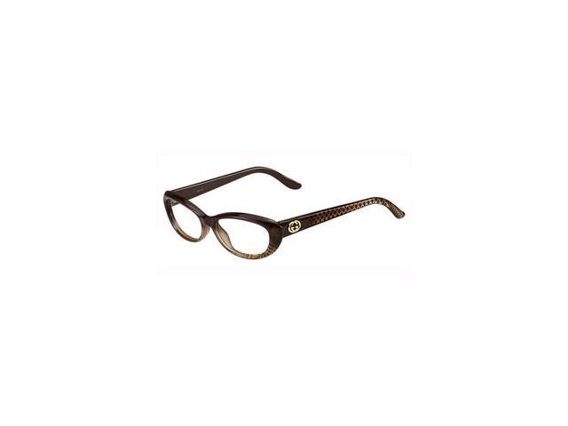 Gucci Womens Eyeglasses 3566 W9B/16 Plastic Oval Brown Gold Frames -  Newegg.com