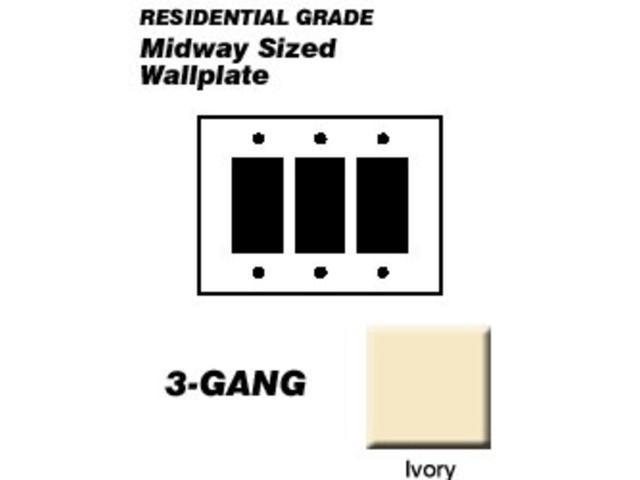 Decorator 3 Gang Wall Plate Midi Ivory Leviton Mfg Decorative Switch