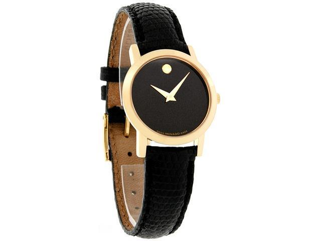 c6e6cea0d Movado 0606088 Black Dial Gold Tone Museum Genuine Leather Strap Ladies  Watch with Gold Tone Hand & Signature Concave Dot