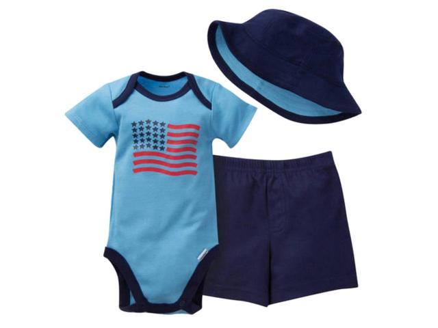 e9324124beb Gerber Infant Boys 3 Piece Patriotic Outfit Bodysuit Shorts   Bucket Hat 3 -6m