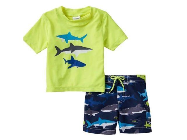 db6f983034 Carter's Infant & Toddler Boys Shark Themed Rash Guard & Swim Trunks ...