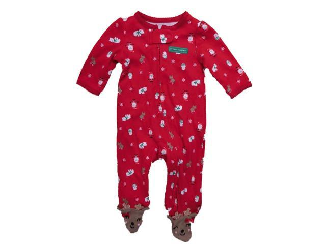 6ab1b6c34 Carters Infant Girls Red Christmas Holiday Reindeer Sleeper Sleep ...