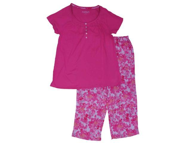 9089235ee Womens Pink Ruched Lightweight Floral Knit Pajamas Short Sleeve ...