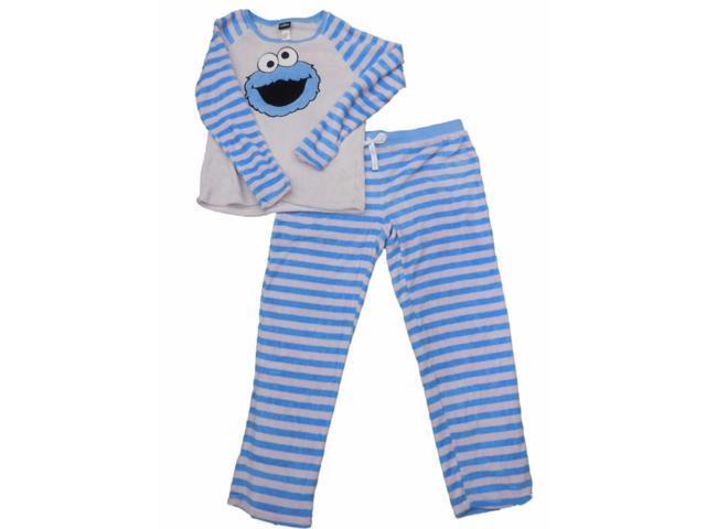a6f6f276 Womens Sesame Street Cookie Monster Minky Fleece Striped Pajamas Sleep Set  X-Large